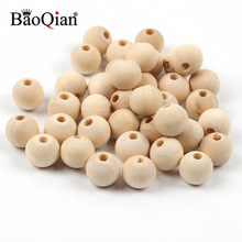 4-50mm cuentas de madera Natural bolas redondas de madera sin plomo para hacer joyería Diy niños espaciador de dentición artesanías de madera
