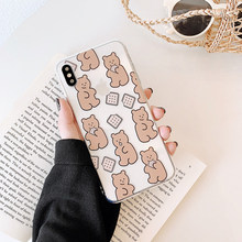 Cute Biscuits bear clear case on for coque iphone 7 8 Cookie silicone soft cover 6 6s plus xr xs max x funda