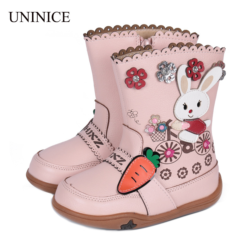 UNINICE Girls Boots Winter 2018 New Children Shoes For Baby Girls PU Leather Cartton Rabbit Horse Snow Boots Kids Warm Shoes new winter children snow boots boys girls boots warm plush lining kids winter shoes