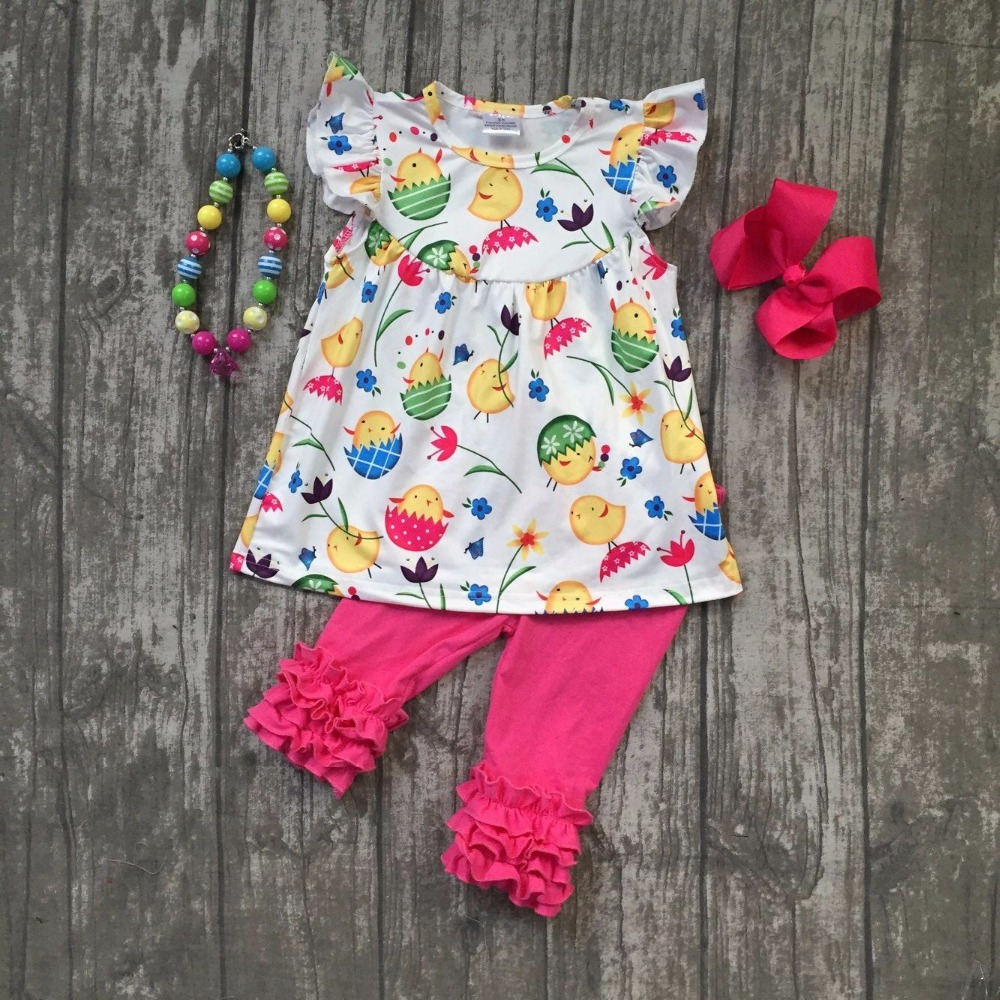 new Easter chick summer baby girls outifts floral clothes hot pink boutique ruffle capris cotton sets with match accessories kid football clothes tutus touch downs fall baby girls boutique skirt ruffle hot pink long sleeves bow heart with matching accessory