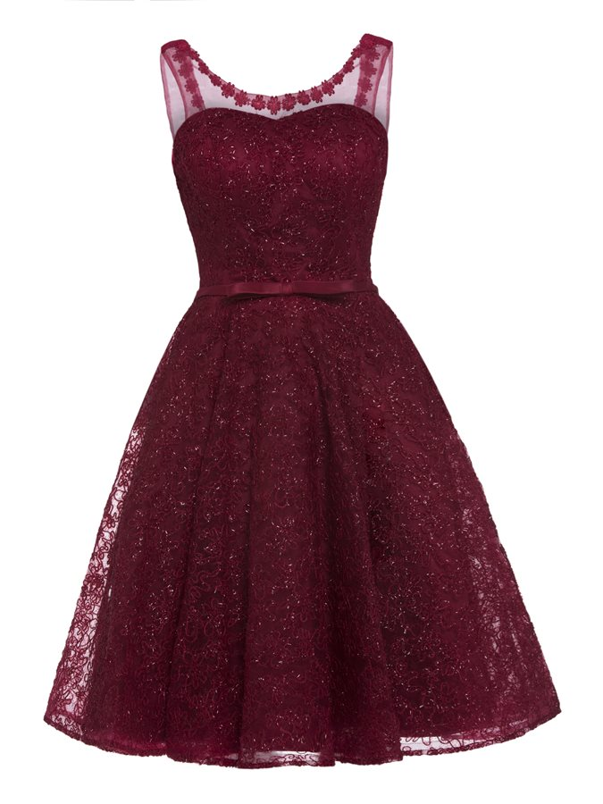 Burgundy   Prom     Dresses   Short O-Neck Lace Up Back Lace Appliques Shiny Mini Homecoming   Dresses   Party Gowns Robe De Soiree