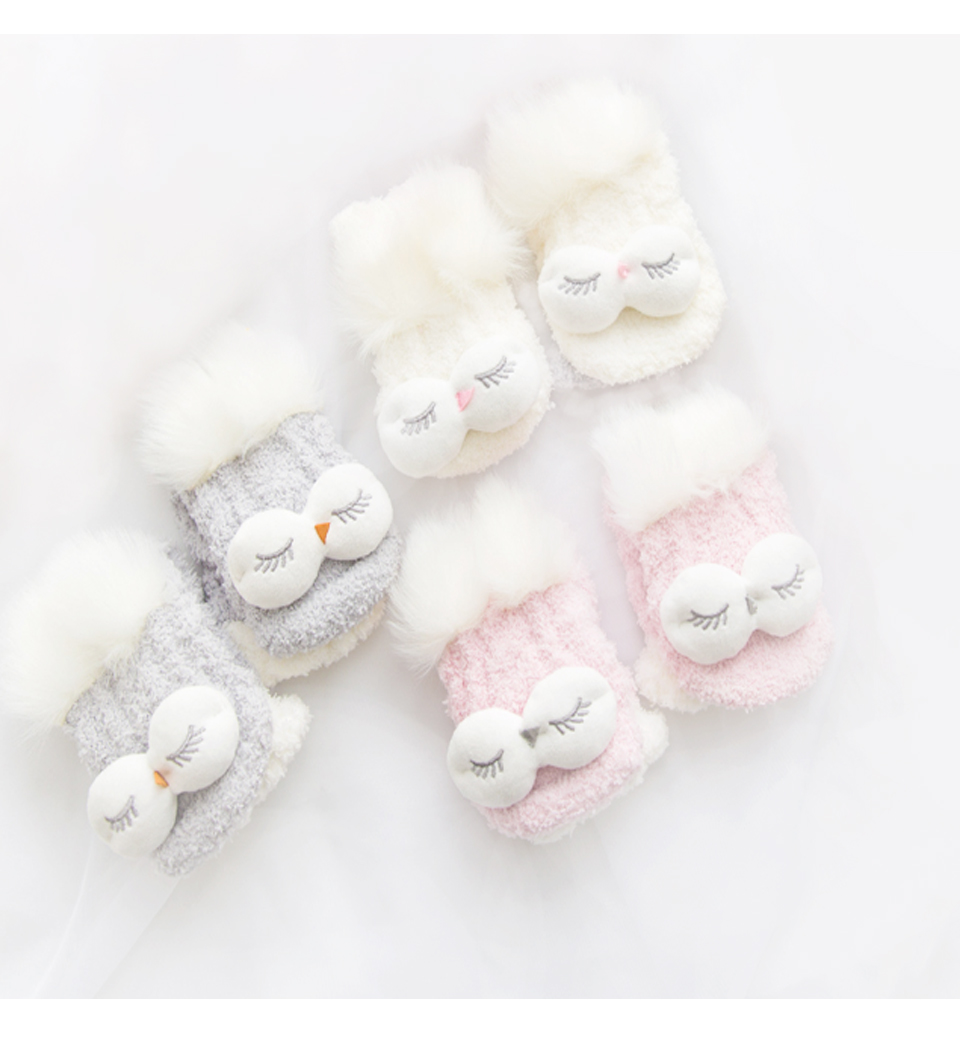 Autumn And Winter Coral Velvet Sleep Sock Female Tube Thickening Warm Round Big Eyes Home Non-Slip Towel Cute Girl Floor Socks (5)