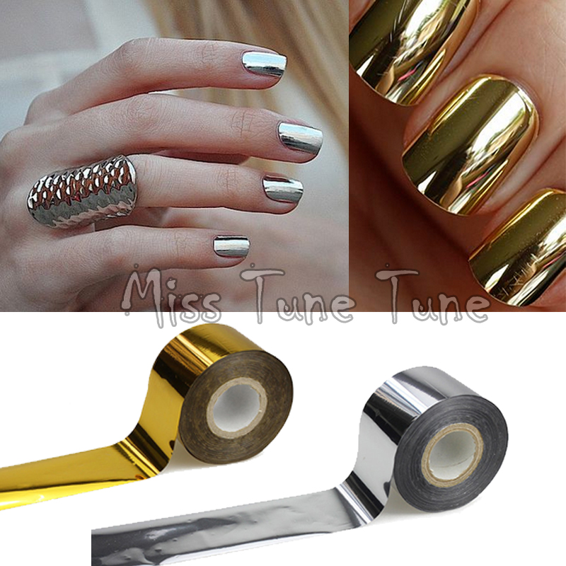 1 Rolls 120x4cm Metallic Mirror Effect Chrome Nails Gold Silver Nail Art Transfer Wrap Foil Glitter Sticker Shiny Tips In Stickers Decals From Beauty
