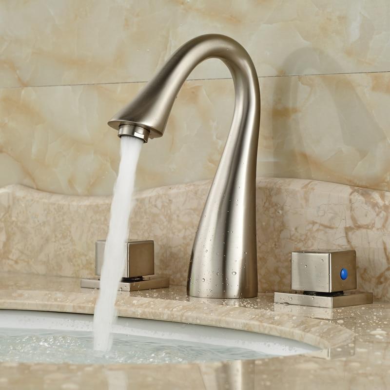 Contemparary Dual Square Handles Bathroom Sink Basin Faucet Tap Deck Mount 3 Holes Mixexr Taps