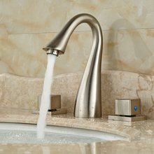 Contemparary Dual Square Handles Bathroom Sink Basin Faucet Tap Deck Mount 3 Holes Mixexr Taps