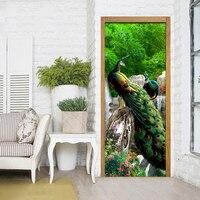 3D Photo Wallpaper Rockery Waterfall Peacock Background Living Room Study Bedroom Door Sticker PVC Mural Wallpaper