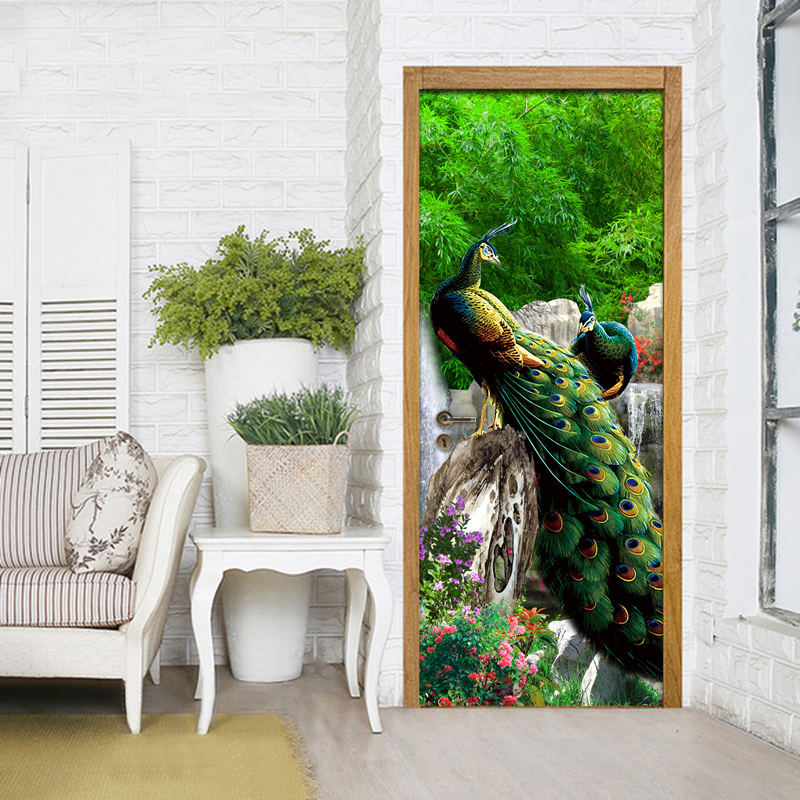 3D Photo Wallpaper Rockery Waterfall Peacock Background Living Room Study Bedroom Door Sticker PVC Mural Wallpaper Wall Painting free shipping basketball function restaurant background wall waterproof high quality stereo bedroom living room mural wallpaper