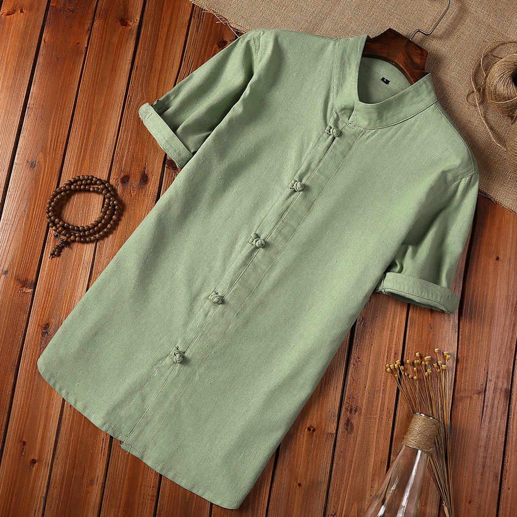 夏のシャツの男性プラスサイズボタンリネンやコットン半袖ブラウス中国スタイル白人男性ヴィンテージシャツカミーサ Masculina