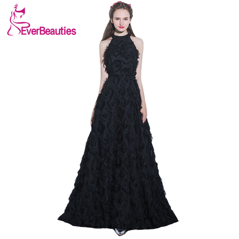 A Line Elegant Black Long Evening Dress 2018 Sexy Halter Feather Floor-length New Simple Prom Party Gown Custom Formal Dresses