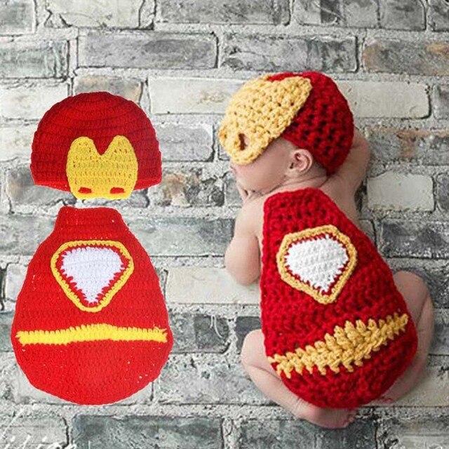 Mais recente Crochet Newborn Fotografia Props Bebê Menino Homem De Ferro  Ironman Capa e Chapéu de 2d1faf98e47