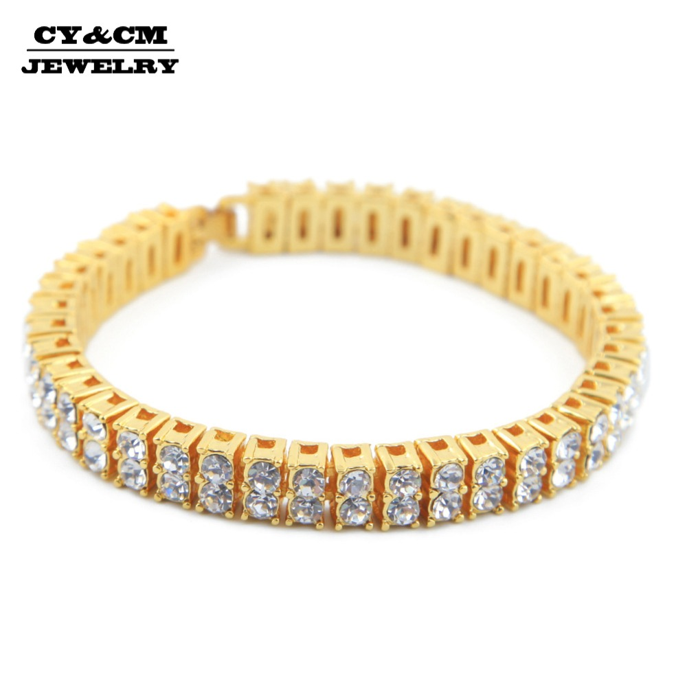 "2 Row AAA Rhinestone Crystal Iced Out Men Lady Bling Tennis Gold Chain Hip Hop CZ Bracelet 8 "" Punk Jewelry Bracelets Bangle"
