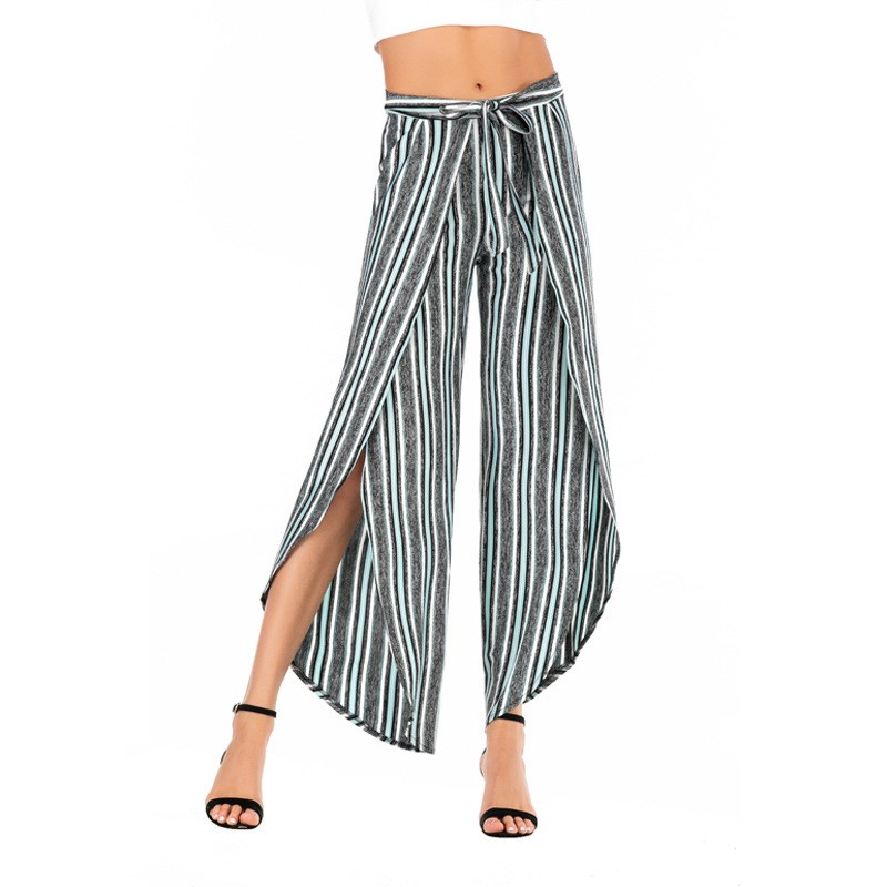 High Waist Sashes Striped   Pants   Loose Women 2019 Summer New Fashion Split Wide Leg   Pants   Casual Sexy Office Ladies Trousers