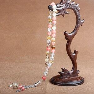 Image 3 - 8mm naturalny kamień kryształ agaty koralik Tassel wisiorek 33 różaniec islamski muzułmański Tasbih Allah Mohammed różaniec dla kobiet mężczyzn