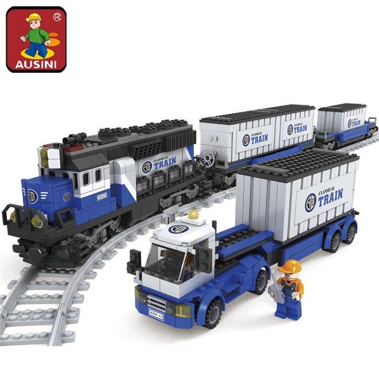 AUSINI 1008pcs Railway Trains Building Blocks Assembling Blocks Toy Children Christmas Model Building Bricks Toys brinquedos power trains набор с краном 48627