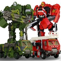 30cm Deformation fire truck robot toy action figure Camouflage armored car Robots Figures Toys For Children