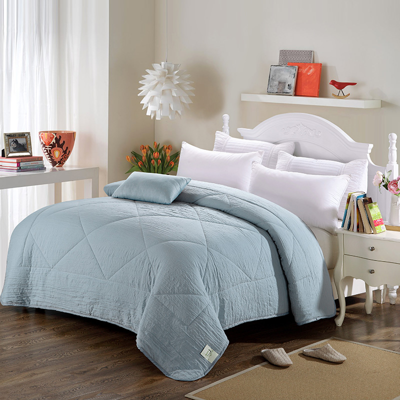 Stylish minimalist style bedding blue solid color summer for Minimalist comforter