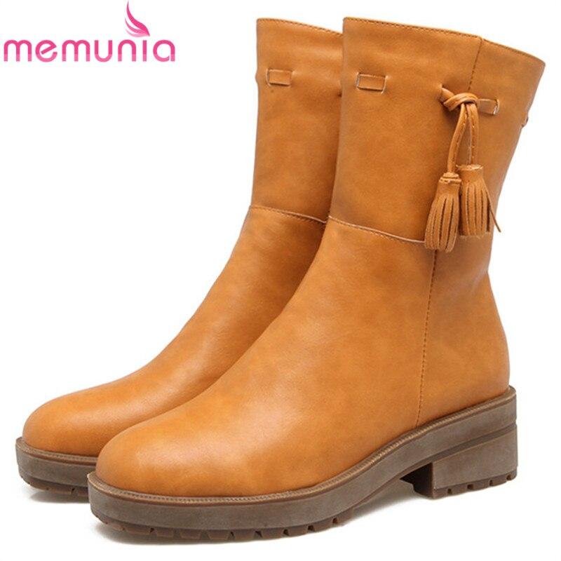 MEMUNIA 2018 nouveau arrivent femmes bottes carrés orteil glissière d hiver  dames bottes carré talon plate-forme cheville bottes. 47344832c01a