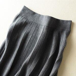 Image 3 - 秋冬新着 2018 女性のファッショントレンドハイウエスト A ラインのロングスカートカシミヤブレンドニットスカートマキシスカート