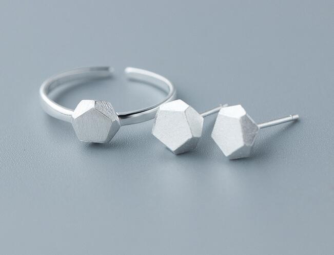 100% QualitäT Echtes 925 Sterling Silber Geometrische Fünf Punkt Ring Ohrringe Set Einstellbar Schmuck Für Frauen Gtlj846