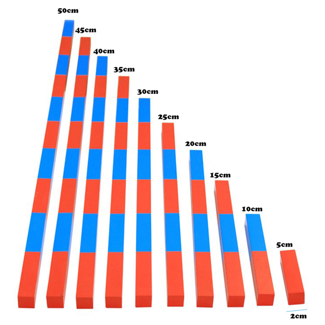 """ילדים צעצועי מונטסורי אדום מקלות ארוכים (5 50 ס""""מ) מתמטיקה מוטות מספר עץ חינוך למידה מוקדמת ילד"""