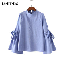 La-Tee-Da!2017 New Patchwork Flare Bandage Blouses Women Cotton Stand Bow Shirts Lady Fashion Casual OL High Quality Vestido