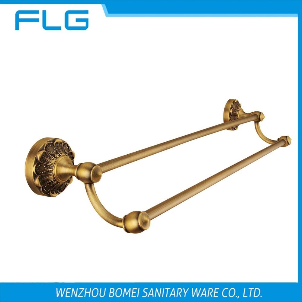 Free Shipping FLG100219 Towel Bar Wall Mounted Antique Brass Art Curving Base Dual Bar Towel Bar