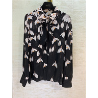 Clothing Women Fashion Print Shirt 100% Silk Woman Print Long Sleeve Shirt