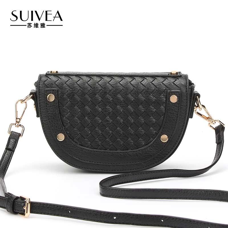 SUIVEA Brand Saddle Women Handbags Bag Ladies Style Weave Craft Small Bags Fashion Rivet Crossbody Travel Design For Female 2017
