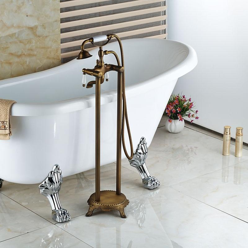 Floor Mount Dual Handles Bathtub Mixer Faucet Antique Brass Bathroom ...