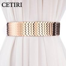 CETIRI 5cm Width Sexy Lady Gold Belt Elastic Metal Mirror Be