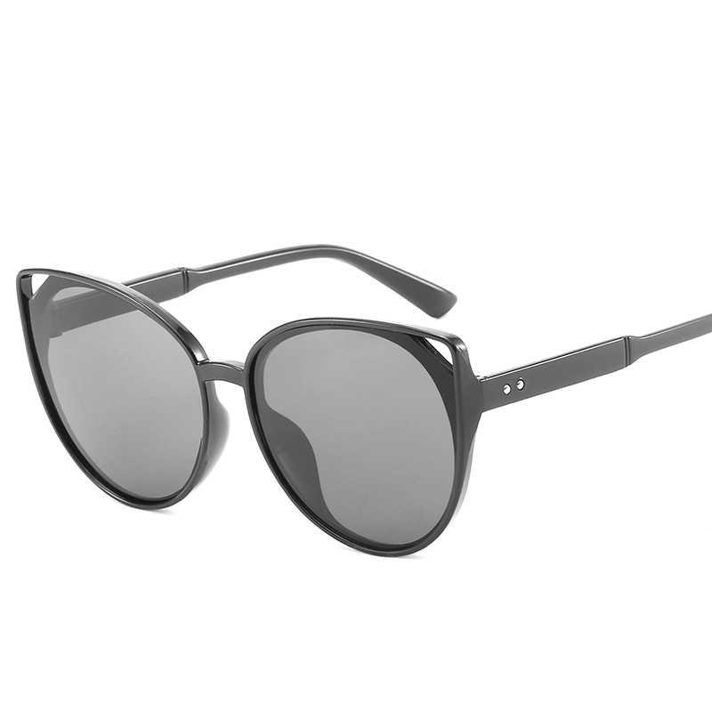 Vintage ojo de gato gafas de sol redondas de los hombres y las mujeres mujer  marca 9be36d40df54