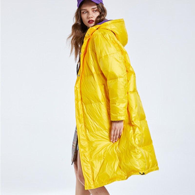 Femmes Bas Le Solide Remplissage Manteau yellow Long Black Coton Canard Doux Renard Hiver purple Duvet Parka Date Veste Dames Vers Femme Épais De FfYIaq0