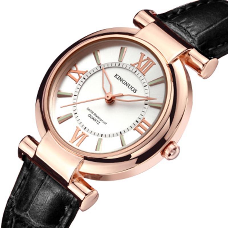 Moda Rose gold Dial mujeres Relojes Luxury Romantic Leather Quartz - Relojes para mujeres