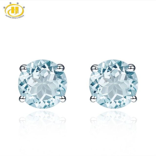 Hutang Gemstone Jewelry Natural Aquamarine Solid 925 Sterling Silver Earring Fine Fashion For March Birthstone