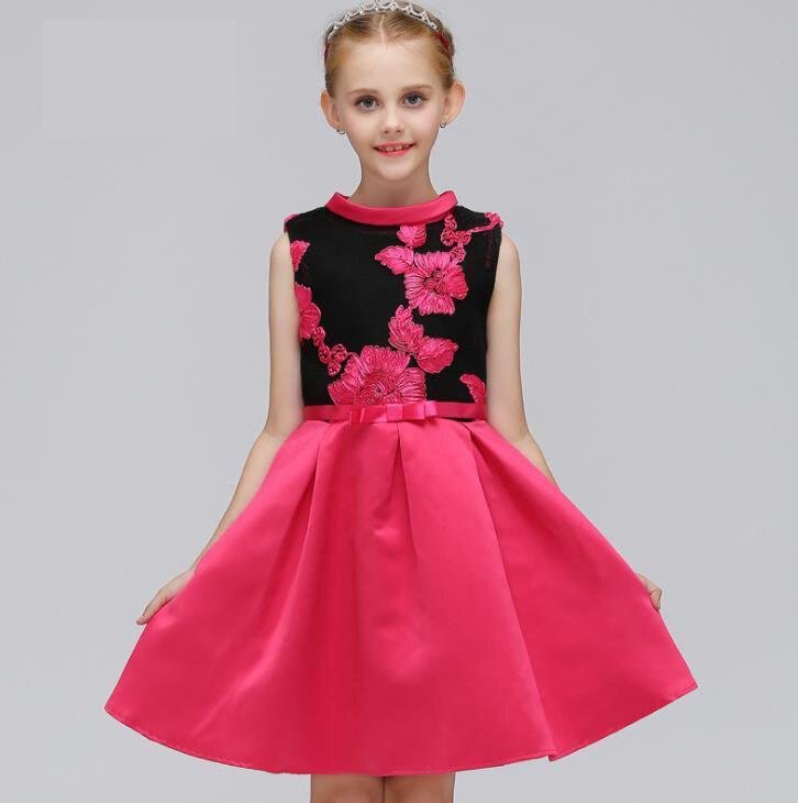 цена на 2018 European Style Embroidered Flower Princess Dresses Formal Wedding Party Girl Birthday Dress Princess Ball Gown Kids Vestido