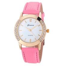 1PC  Fashion Geneva Women elegant and charming watch Diamond Analog Leather Quartz Wrist Watch Watches Free Shipping NA24