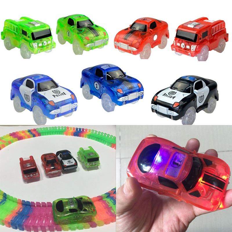 Tracks Cars LED Light Electronics Car Tracks Toy Parts Car Magic Rail Race Track for Children Boys Birthday Gifts