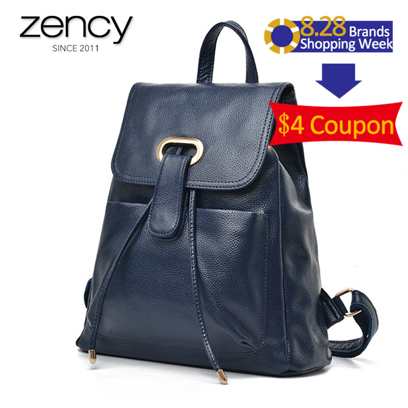 Soft Top Genuine Leather Fashion Casual Women s Travel Backpacks Daily Pocket Girl SchoolBag 3 Colol
