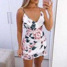 Женское сексуальное летнее платье с v-образным вырезом, мини-платье с цветочным принтом на бретельках, женские летние пляжные вечерние платья, повседневные пляжные платья