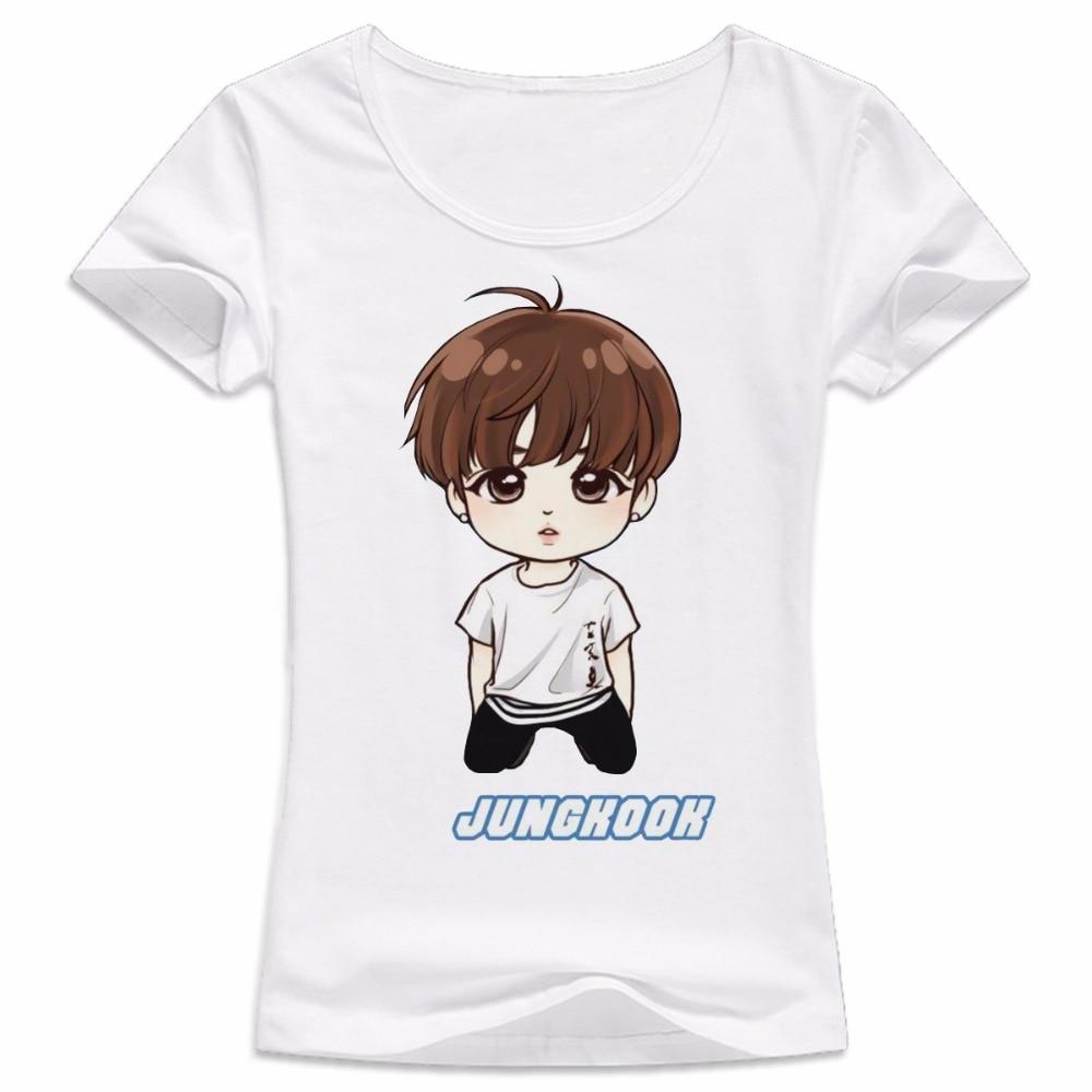 Kpop 2017 Meninos Bangtan bts Camiseta feminina T shirt JUNG KOOK JIMIN JIN  SUGA v k pop mulheres k pop Rap Monstro Camiseta Branca tops em Camisetas  de ... 0df0b78901f05