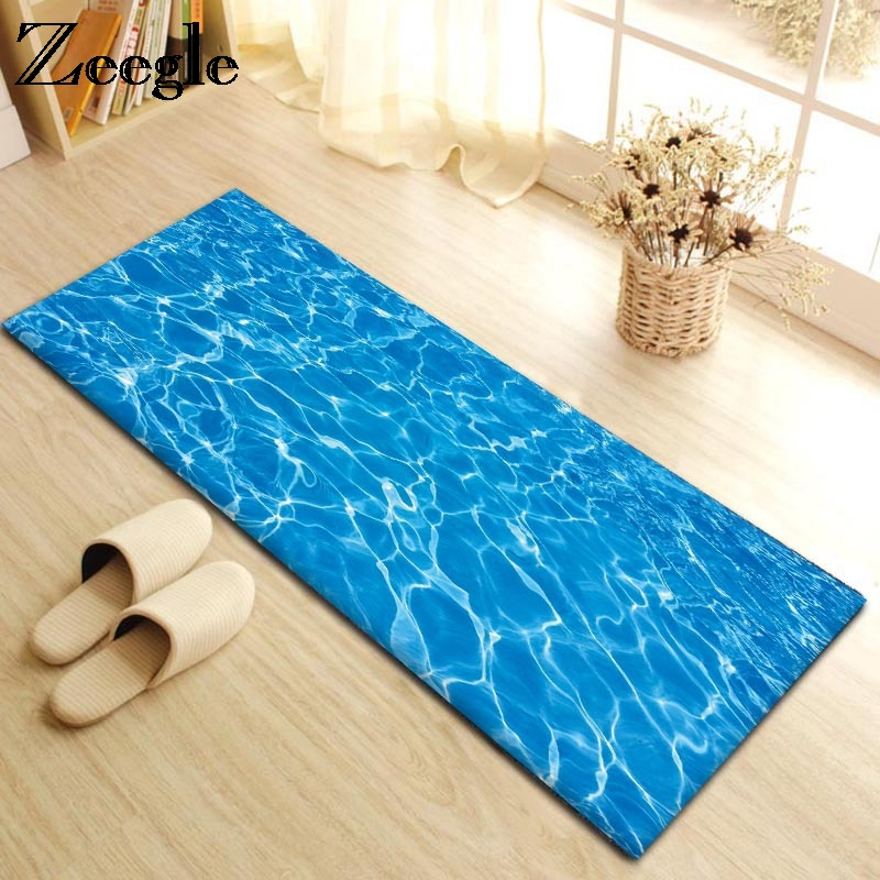 Zeegle Absorbent Doormats Entrance Mats For Hallway Anti-slip Bedroom Bedside Mats Sofa Table Floor Mats Flannel Kitchen Rugs ...