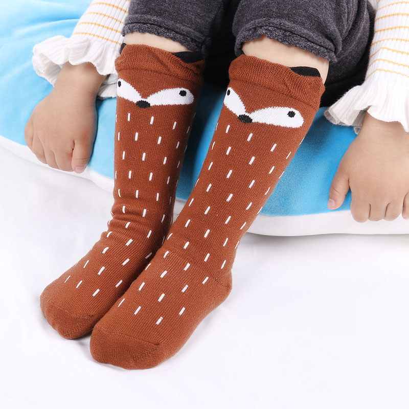 Free Shipping Baby Girls Leg Warmer Fox Cotton Cute Little Character Knee Socks Kid Clothing Unisex Toddler Boot Socks Cartoon