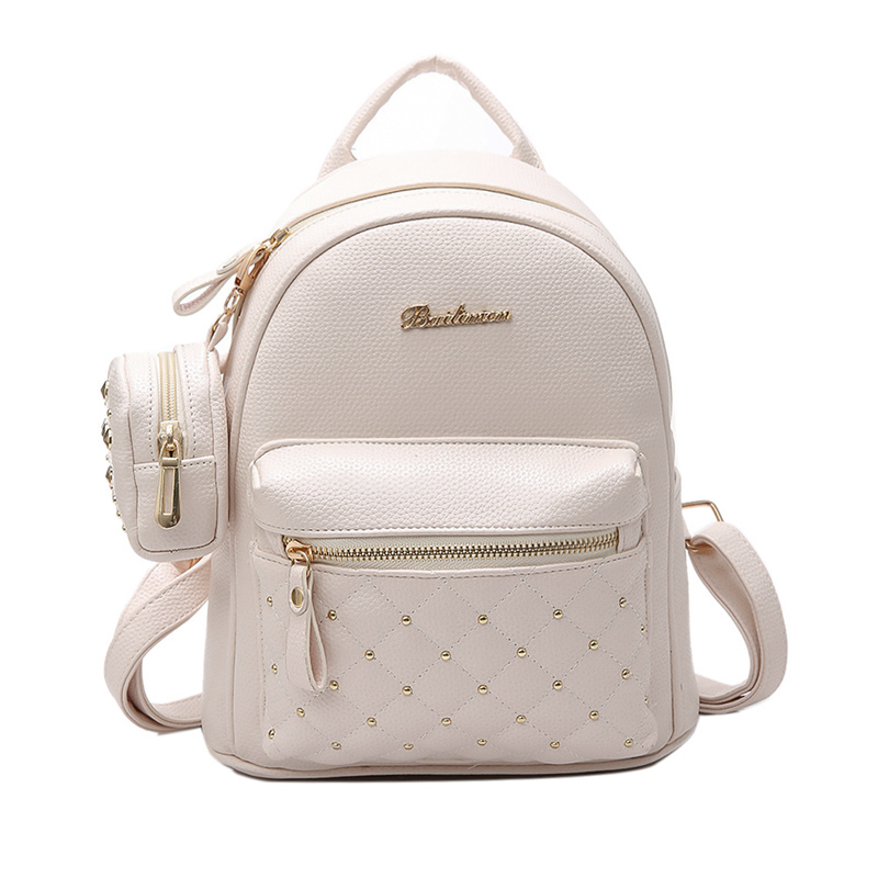 DCOS Retro Lady PU Leather Small Bag Women's School Bags For Teenage Backpacks Women's Backpack Bag
