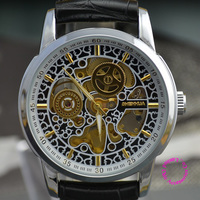 wholesale price good quality luxury Man black Skeleton automatic self wind Mechanical business wristwatch Watch hour