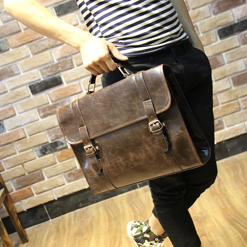 GUMST Crazy horse PU leather men bags vintage business leather briefcase men's Briefcase men travel bags tote laptop bag man bag crazy horse genuine leather men bags vintage loptop business men s leather briefcase man bags men s messenger bag 2016 new 7205
