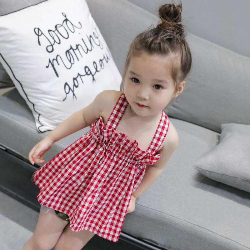 Kids Grils Favorite Dress Cute Summer Girls Plaid Backless Strap Princess Pleated Dress Kids Clothes For Girls Birthday Gift