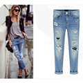 2016 Spring Autumn Women Jeans Ripped Holes Fashion Straight Full Length Mid Waist Famale Washed Denim Pants Cotton Trousers