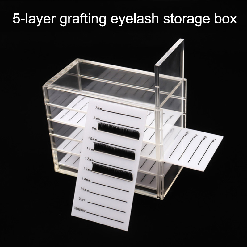 Dropshipping 5 Layers Eyelash Storage Box With Scale Makeups Display Container Transparent Box SMJ