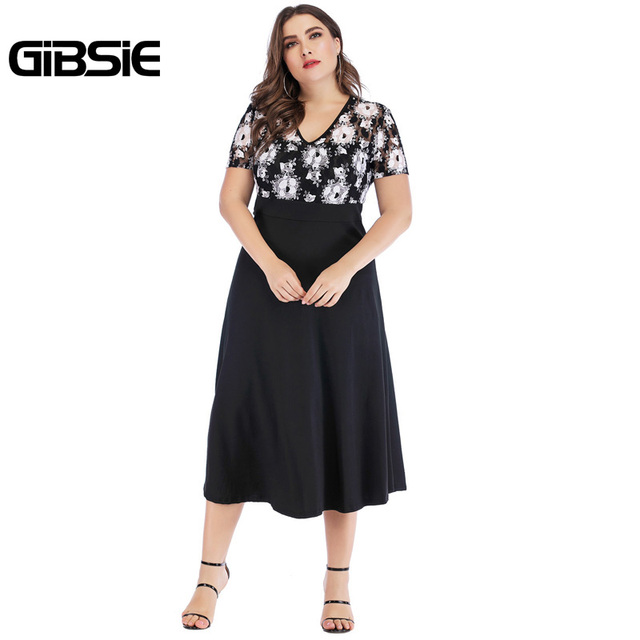GIBSIE 5xl 4xl Vintage Floral Lace Casual Party Dress Summer Women Black Elegant Plus Size V Neck Short Sleeve A Line Long Dress 1
