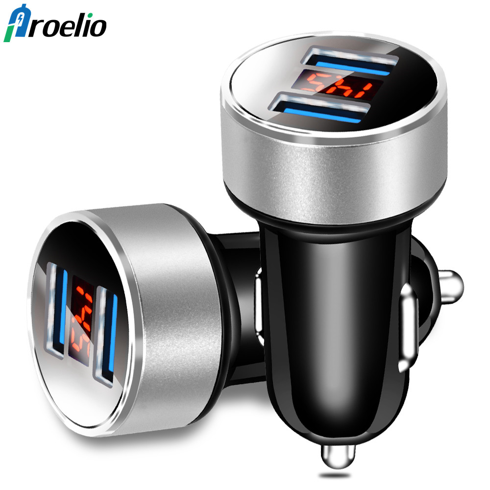 Original Proelio 3.1A Fast Charging Car Charger Digital Display Dual USB Port Car-charger Adapter For iPhone iPad Samsung Xiaomi